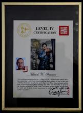 Sifu Stauner Ulrich - level four,  Gary Lam Wing Chun certificate